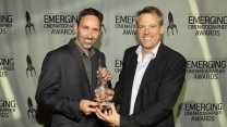 Getting Emerging Cinematography award from Wally Pfister